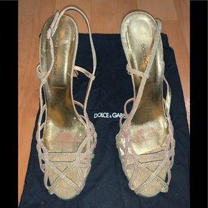 Dolce & Gabbana gold sparkle stiletto sandals